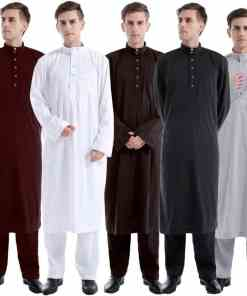2020 Caftan Marocain Muslim Dress Men Abaya Saudi Arabia Islamic Clothing Qamis Homme Robe Musulmane Longue Ropa Hombre 2Pcs Set Men