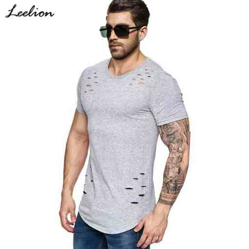 IceLion 2019 New Spring Short T Shirt Men Fashion Hole Design Fitness T-shirt Summer Short Sleeve Solid Slim Fit Hip Hop Tshirt Men Men's Clothings Men's Tee Men's Tops