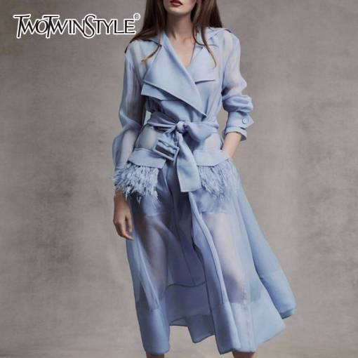 TWOTWINSTYLE Voile Lace up Windbreaker Dress Women Long Sleeve Feather Pockets Sexy Party Dresses Female Elegant Clothes 2020 Women Women's Clothings Women's Dresses