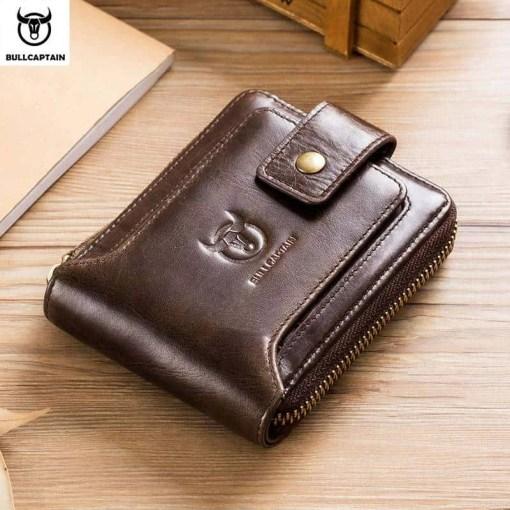 BULLCAPTAIN men's purse leather purse male purse RFID card holder wallet Storage bag coin purse Zipper wallet Men Men's Bags Men's Wallets