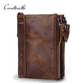 CONTACT'S HOT Genuine Crazy Horse Cowhide Leather Men Wallet Short Coin Purse Small Vintage Wallets Brand High Quality Designer Men Men's Bags Men's Wallets