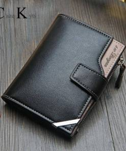 New Korean casual men's wallet Short vertical locomotive British casual multi-function card bag zipper buckle triangle folding Men Men's Bags Men's Wallets