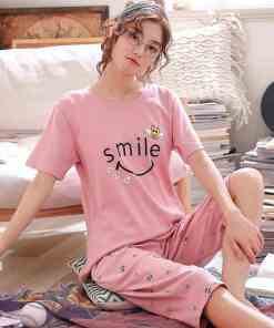 Summer Cartoon Cotton Pajamas Set Women Pyjamas Sleepwear Nightwear Pijama Mujer Home Wear Plus size Calf-Length Pants Nightsuit Women's Pajamas
