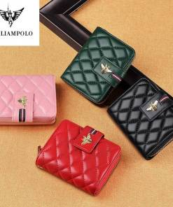 WilliamPolo Full-Grain leather Short Wallet Women Fashion casual Credit Card Holder Coin Purses Business sheepskin Women Women's Bags Women's Wallets