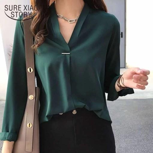 women chiffon blouse shirt long sleeve women shirts fashion womens tops and blouses 2020 3XL 4XL plus size women tops 1681 50 Women Women's Blouses Women's Clothings