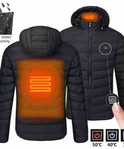2020 NWE Men Winter Warm USB Heating Jackets Smart Thermostat Pure Color Hooded Heated Clothing Waterproof Warm Jackets Men Men's Clothings Men's Sweaters/Coats/Jackets