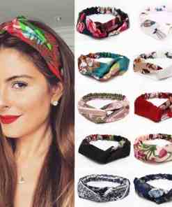 30 Colors Hair Tie For Women Cross Top Knot Elastic Twisted Knotted Headwrap Chiffon HairHand Autum Headband Accessories Floral Women Women's Accessories