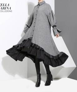 2020 Autumn Winter Women Plus Size Gray Shirt Dress Midi Long Sleeve Patchwork Thick Warm Ruffled Elegant Party Dress Style 3073 Women Women's Clothings Women's Dresses