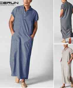 INCERUN Men Islamic Arab Muslim Kaftan Stand Collar Short SLeeve Pockets Vintage Robes Middle East Solid Men Jubba Thobe S-5XL Men Men's Clothings Men's Kaftan