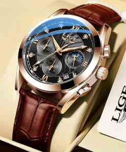 LIGE 2020 NEW Top Brand Luxury Mens Watches Male Clocks Date Sport Military Clock Leather Strap Quartz Business Men Watch Gift Women Women's Clothings Women's Dresses