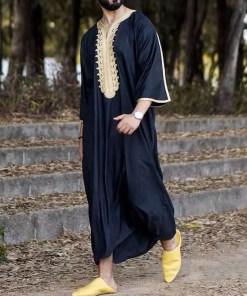 Muslim Fashion Men Kaftan Arabic Jubba Thobe Prayer Long Blouse Robes Abaya Dress Print Gown Pakistan Dubai Islamic Clothing Men Men's Clothings Men's Kaftan