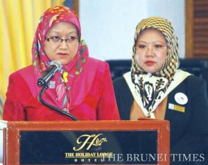 MIPR Permanent Secretary Hjh Normah Suria Hayati (L) delivers her speech at the opening ceremony of the Thematic Briefing for Brunei Civil Society