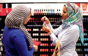 'Breathable' nail polish on display in a Dubai shopping mall, which claims to let moisture and oxygen pass through to the nail so the wearer can properly wash as required before prayers. — Reuters