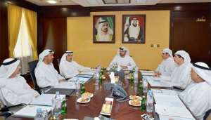 Mohammed Abdullah Al Gargawi and other officials of the Dubai Islamic economy Development Centre board during their meeting.