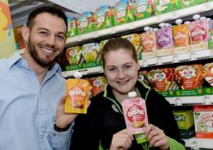 Mark Salter of forAisha in Asda with Emma Roberston