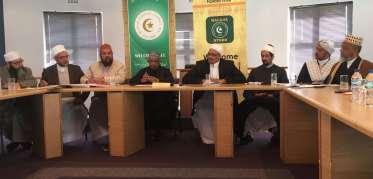 MJC leadership and Halal Trust Director addressing the media.