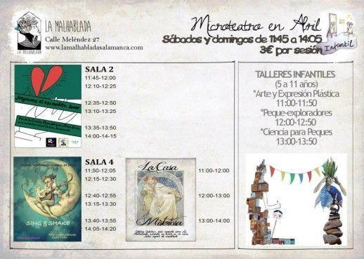 Programación infantil de microteatro en La Malhablada en abril