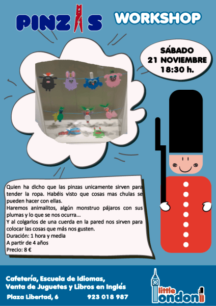 Taller de manualidades de pinzas en Little London