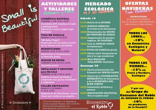 Programa de actividades de Small is beautiful de Ecocentro El Roble en Salamanca