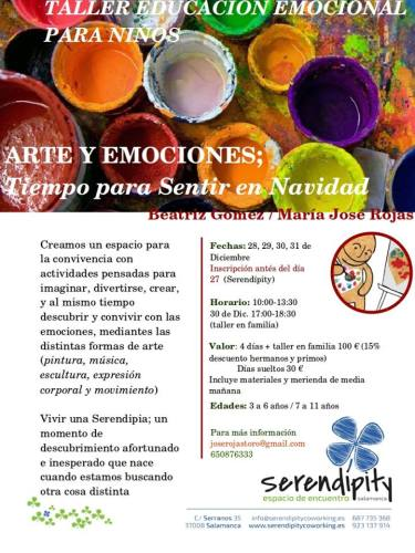 Talleres de emciones para niños en Serendipity Salamanca en Navidad