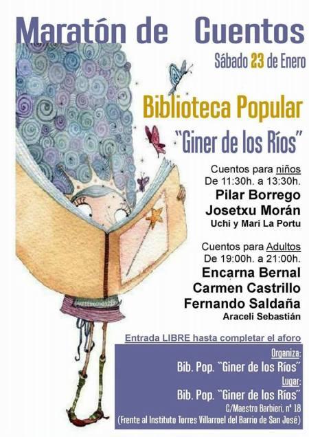 Maratón de Cuentos en la Biblioteca Popular Giner de los Ríos de Salamanca