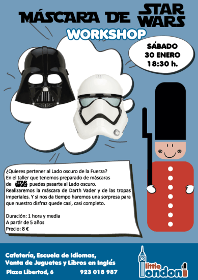 Taller infantil de máscara de Star Wars en Little London Salamanca
