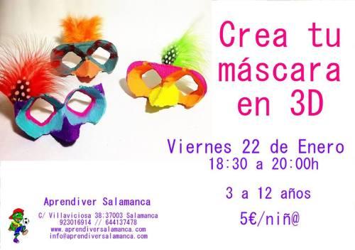 Taller infantil de máscara de carnaval en Aprendiver Salamanca