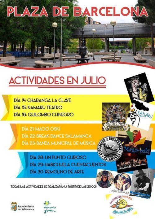 Actividades de verano en la plaza de Barcelona de Salamanca