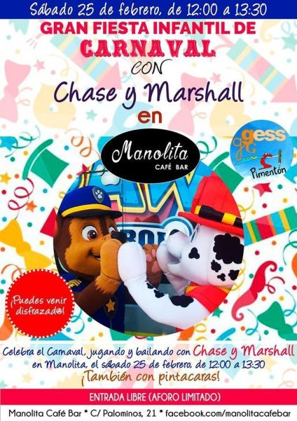 Gran Fiesta Infantil de Carnaval en el Manolita Café