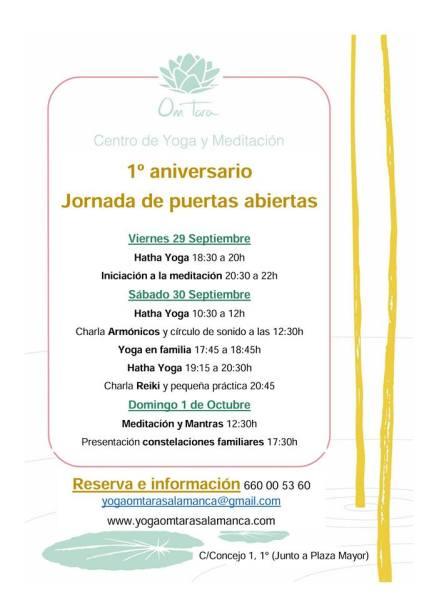 Elige tu actividad favorita y celebra el primer aniversario del Centro de Yoga y Meditación Om Tara en Salamanca