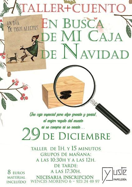 Taller infantil en la librería Yuste para crear una caja muy especial de Navidad