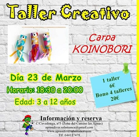 Taller creativo koinobori en Aprendiver Salamanca
