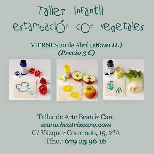 Taller infantil de estampación con vegetales en el Espacio Creativo de Beatriz Caro