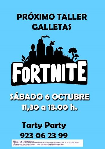 Taller de galletas de temática Fortnite en Tarty Party