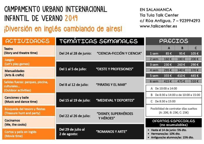 Programación del 6º Campamento Urbano Internacional de Tía Tula Talk Center Salamanca para este verano