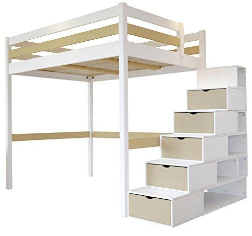 Hochbett Sylvia 120 x 200  Treppe Cube 2 Sitzer Holz wei