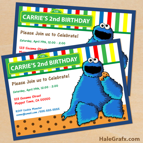 free printable cookie monster birthday