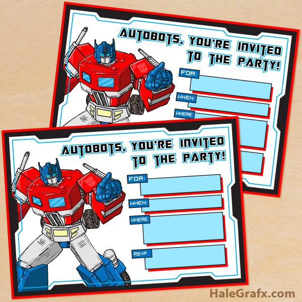 Transformer Invitations Templates Printable