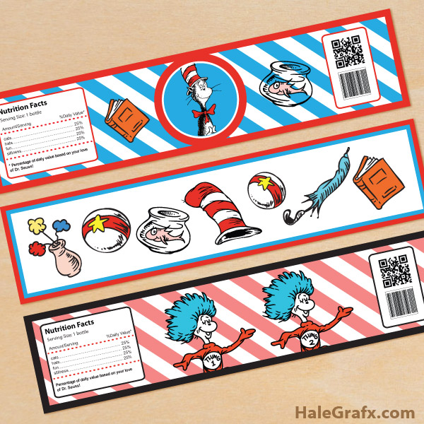 Free Printable Dr Seuss Cat In The Hat Water Bottle Labels