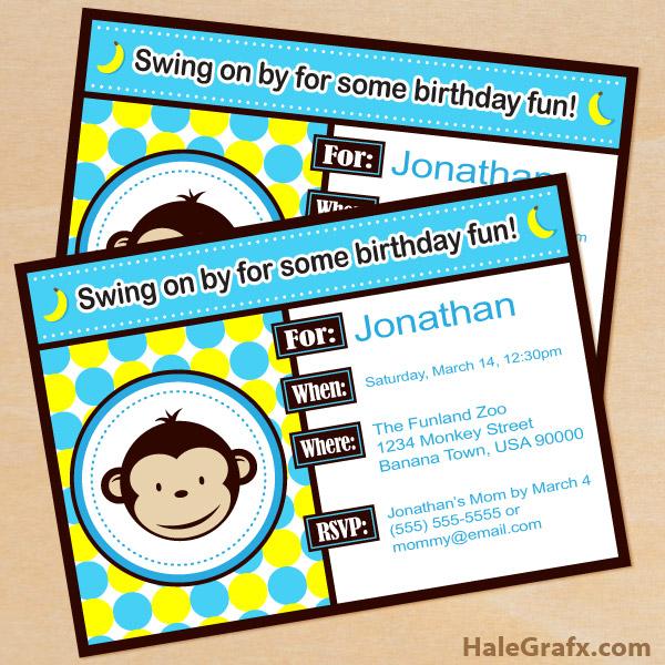 free printable mod monkey blue birthday