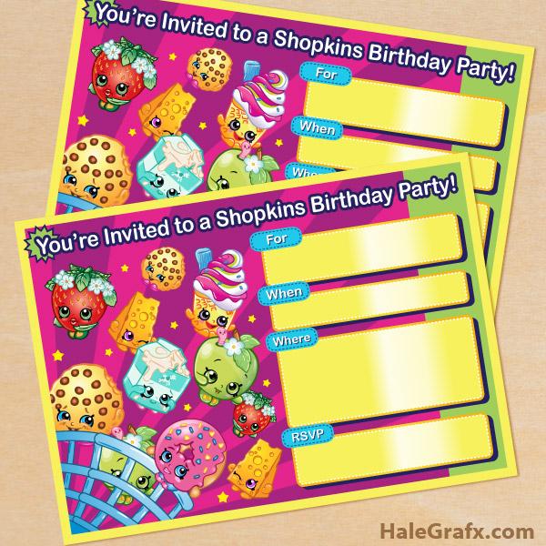 free printable shopkins birthday invitation