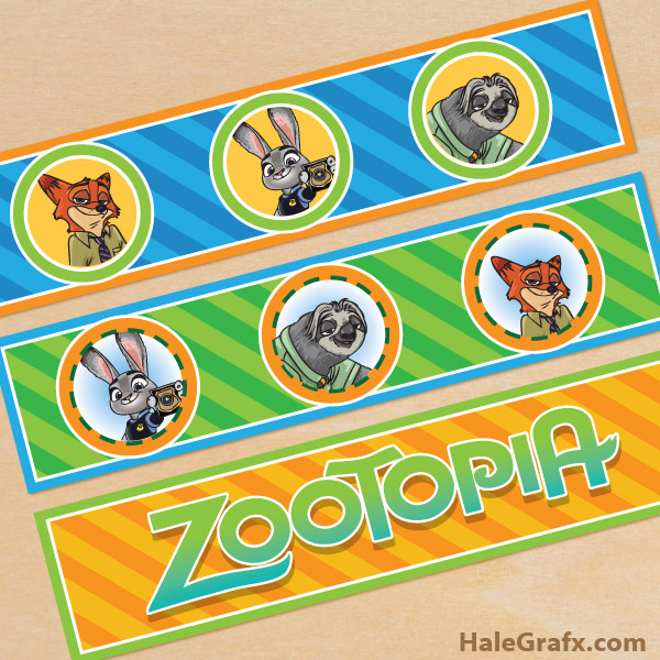 FREE Printable Zootopia Water Bottle Labels from HaleGrafx.com via Mandy's Party Printables