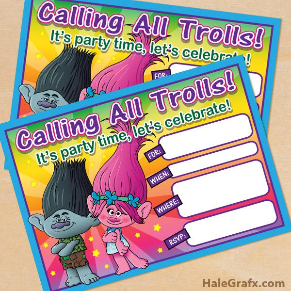 free printable trolls movie birthday