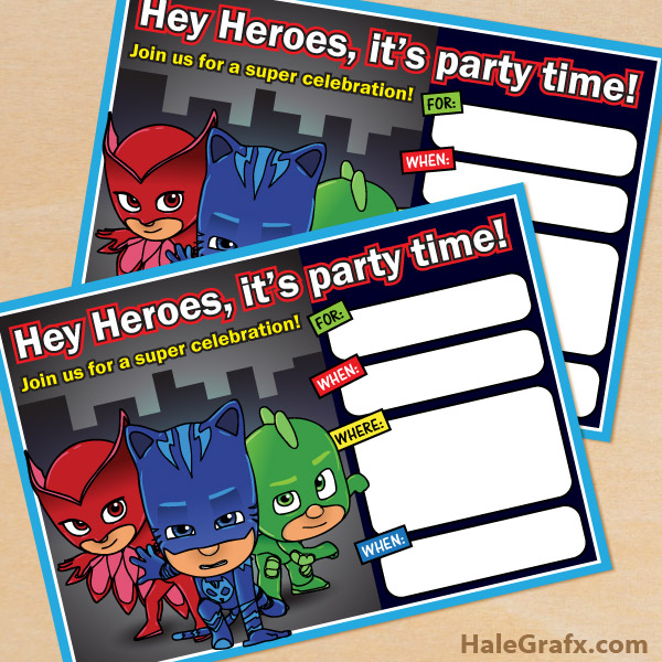 FREE Printable PJ Masks Movie Birthday Invitation