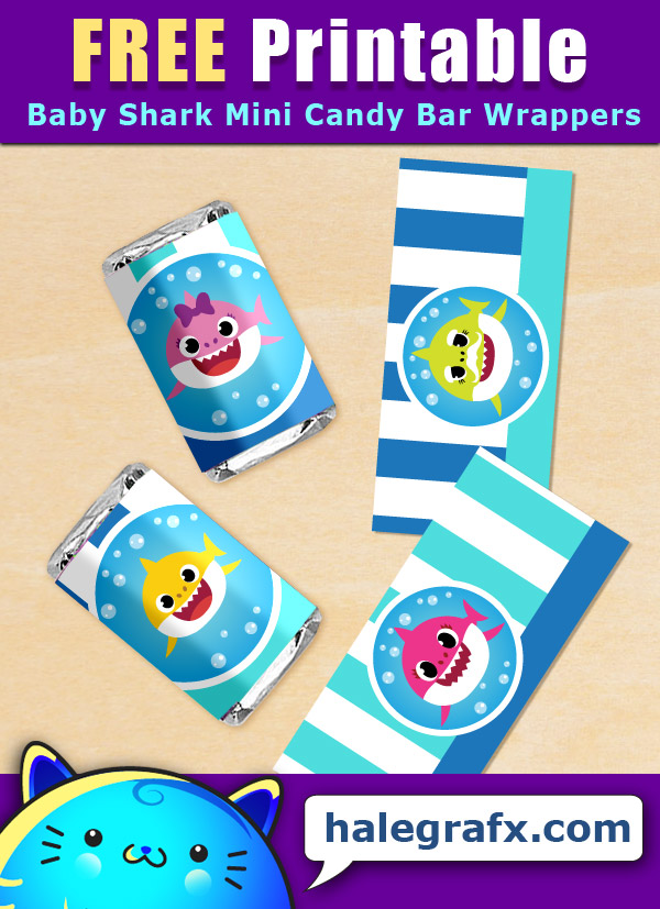FREE Printable Baby Shark Mini Candy Bar Wrappers