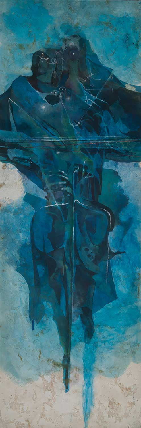 abstract blue painting titled The Trillionth Sister