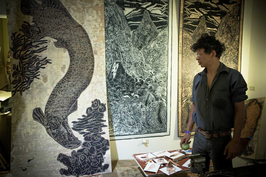 Sergio Garzon with his black and white dragon print