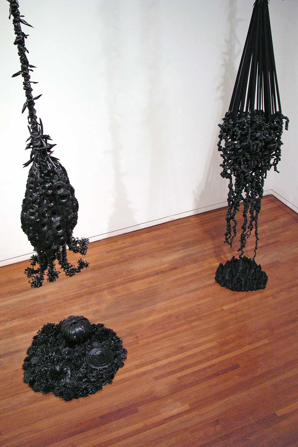 Black ceramic abstact sculptures by Eli Baxter