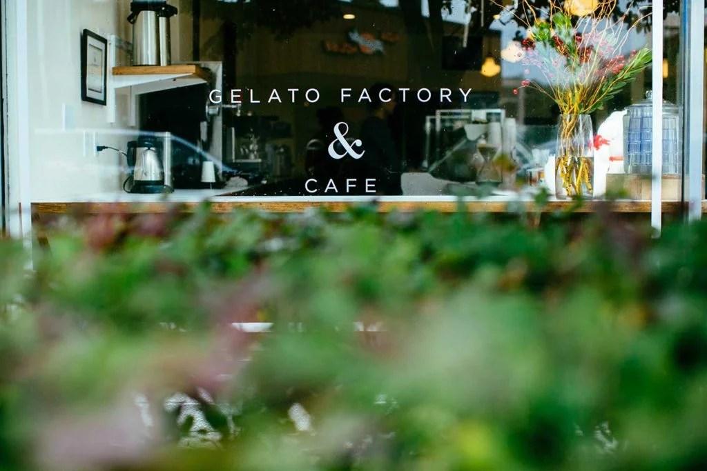 Gelato Factory & Cafe store window signage