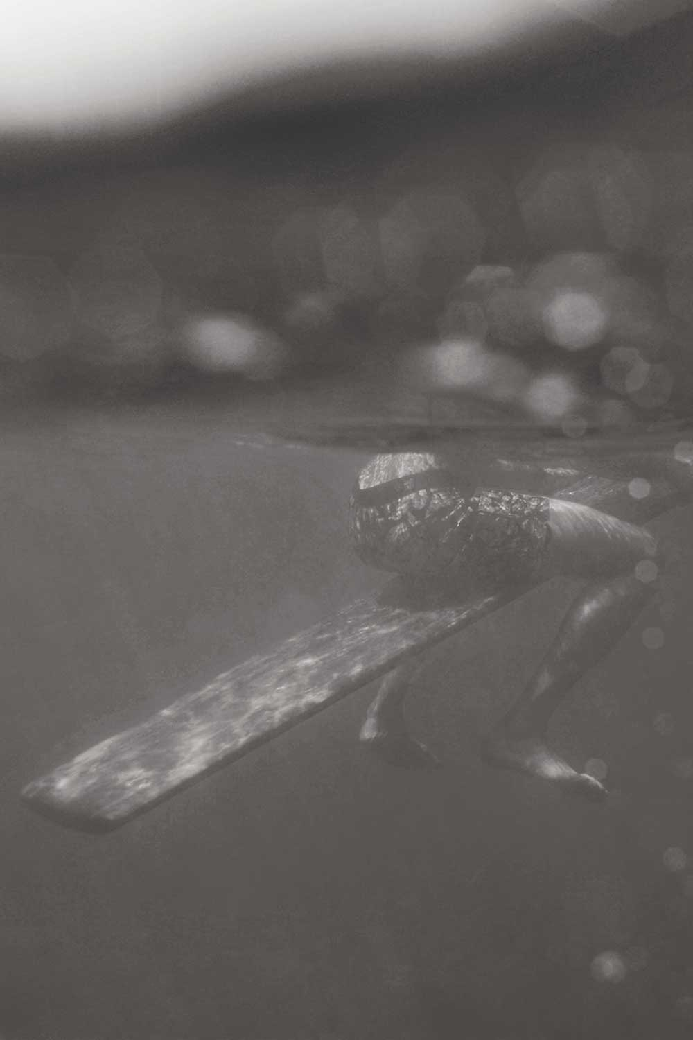 underwater photo of surfer's legs and surfboard